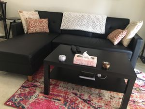Reversible sleeper couch + coffee table + cushions for Sale in Arlington, VA