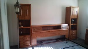 Queen headboard with sliding storage, with 2 matching tallboy drawer/shelf/cabinet pieces,,1 lowboy 6 drawer bureau. Includes metal bed frame for Sale in Oceanside, CA