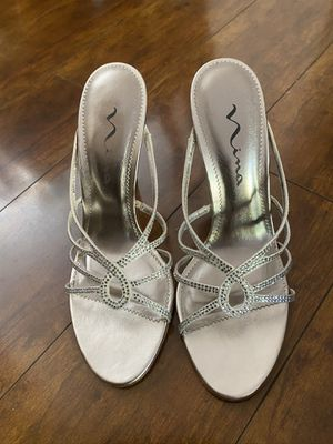 Silver small heels for Sale in Los Angeles, CA