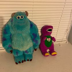 Monster Inc And Barney Plushies for Sale in New Caney,  TX