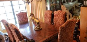Wooden Dining Table Mahogany color with 8 chairs for Sale in Rancho Cucamonga, CA