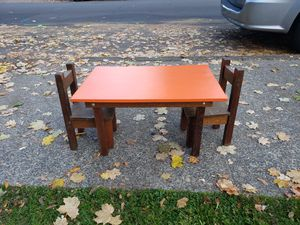 Kids wood table with 2 chairs homemade for Sale in Beaverton, OR
