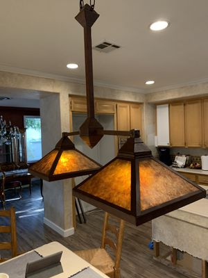 Copper color Kitchen Light with Mica lamp shades for Sale in La Verne, CA