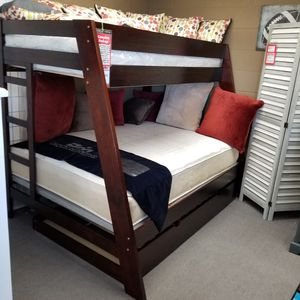 New, Twin/Full Bunk Bed with Mattresses and Bunkie Boards Included for Sale in Lemon Grove, CA