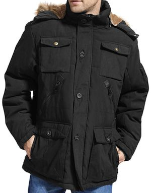 Mens Winter Parka Insulated Warm Jacket Military Coat Faux Fur with Pockets and Detachable Fur Hood for Sale in Stockbridge, GA