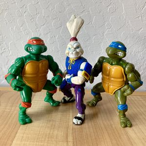 Vintage Teenage Mutant Ninja Turtles Michelangelo, Leonardo & Usagi Yojimbo Action Figure TMNT Toy Lot of 3 for Sale in Elizabethtown, PA