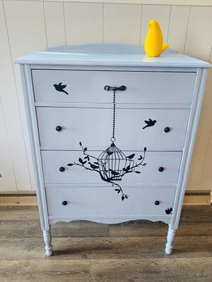 Four Drawer Solid Wood Dresser. Bird Themed Blue! for Sale in Everett, WA