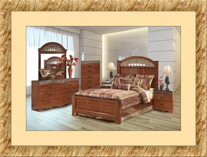11pc Ashley Cherry bedroom set free mattress and delivery for Sale in Crofton, MD