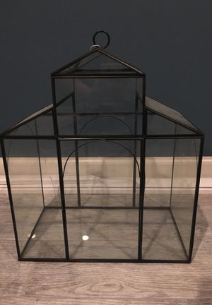 Pottery barn glass greenhouse terrarium for Sale in Frederick, MD