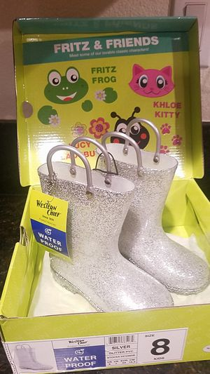 Silver glitter rain boots size 8 in kids for Sale in San Jose, CA