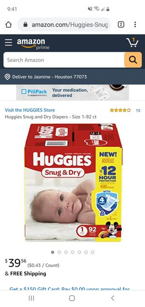 Huggies snug and dry sz1 92 count for Sale in Humble, TX