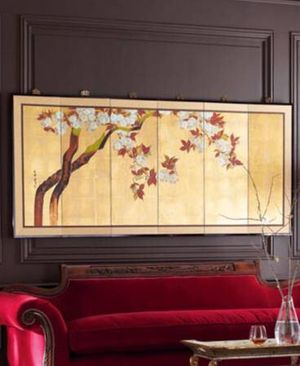 """Gump's Oriental 81"""" Plum Blossoms 6-Panel Wall Screen w/Brass Hardware for Sale in Washington, DC"""