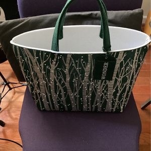 Large Green And Silver Tote Bag Made Of Thick Frlt for Sale in Greenbelt, MD
