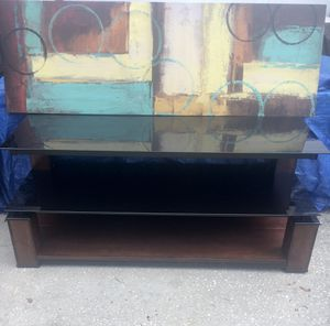 Black glass and wood tv stand or tv console for Sale in St. Petersburg, FL
