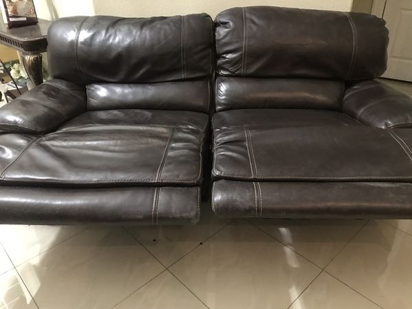 Real leather recliner sofa in good condition for Sale in Las Vegas, NV ...