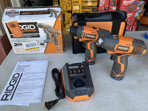 Ridgid 12v Drill Driver & Impact Combo with 2 Batteries & Charger for Sale in Ontario, CA