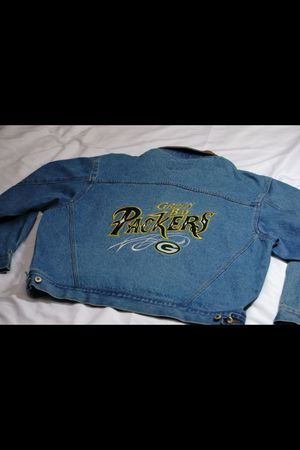 Vintage green bay packers nfl football jean jacket rare for Sale for sale  Queens, NY