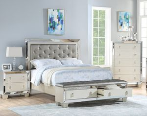 BRAND NEW 4 PC QUEEN SIZE BEDROOM SET BED DRESSER MIRROR NIGHTSTAND NEW FURNITURE ADD MATTRESS AVAILABLE USA MEXICO FURNITURE for Sale in Ontario, CA
