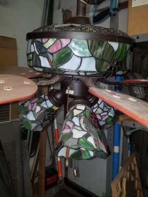 Antique stained glass ceiling lamp and fan for Sale in New York, NY