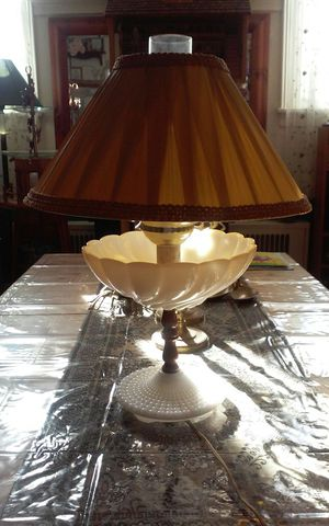 Antique milk glass hurricane lamp with shade for Sale in Philadelphia, PA