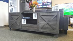 Oracle TV Stand up to 85in TVs, Distressed Grey, SKU 182290 for Sale in Westminster, CA