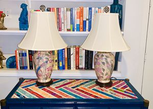 Pair of Vintage Asian Inspired Floral Porcelain Bird Lamps for Sale in Dallas, TX