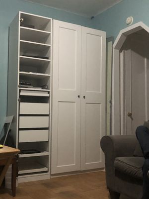 Ikea Wardrobe with Customized Drawers, Shoe Racks and Mirror for Sale in New York, NY