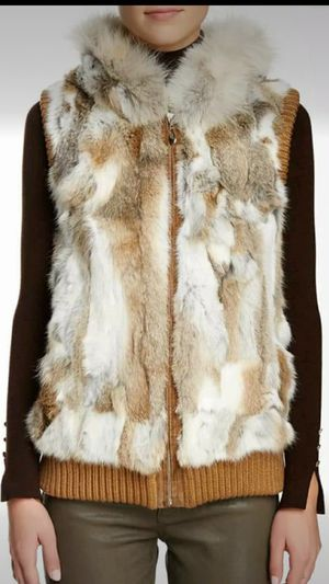 NEW WITH TAGS Fur Rabbit VEST RACOON HOOD SZ. LARGE for Sale in Southfield, MI