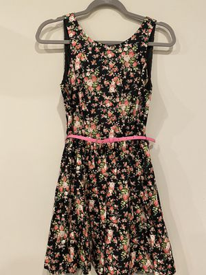 Black floral a-line dress with pink belt for Sale in Silver Spring, MD