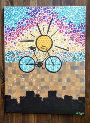"""Up-Cycled""- hand-painted original acrylic bicycle on canvas for Sale in Pittsburgh, PA"
