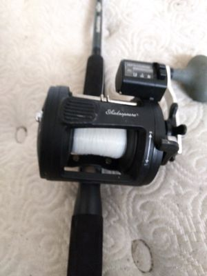 Shakespeare Tidewater reel with depthfinder bait alert brakes 6 and half foot pole. for Sale in US