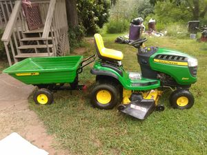 Trade for truck or van john deer d140 with dump cart for Sale in Big Canoe, GA