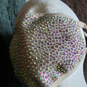 New Tan Washable Comfortable Breathable Rhinestone Adjustable Straps Face Mask for Sale in San Antonio, TX