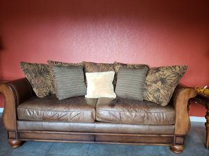 Leather and wood sofas for Sale in Hialeah, FL