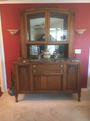 Large antique wood dinner hutch for Sale in Santa Ana, CA