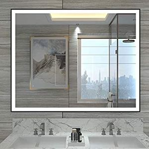 32x40 inch Black Framed LED Lighted Bathroom Wall Mounted Mirror with High Lumen+CRI 95 Adjustable Color Temperature+Anti-Fog for Sale in Burbank, CA