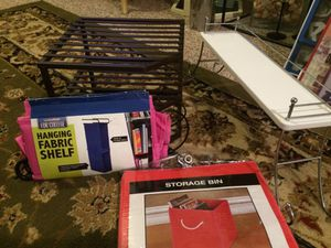 STORAGE CONTAINERS, CABINET STAND, AND BATHROOM SHELF for Sale in Virginia Beach, VA