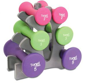 Tone finish 20 pound hourglass neoprene dumbbell set with A frame rack for Sale in Van Alstyne, TX