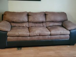 Microsuede 2tone Brown plethora couch. for Sale in Kingsport, TN