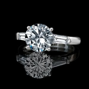 Classic style Round Center (side Baguettes) Ring Simulated Diamond - Diamond Veneer® Engagement Sterling Silver Ring, 635R600-3 CT. (9 mm) for Sale in New York, NY