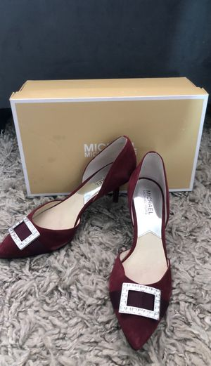 Michael KORS red suede leather heels shoes 7 for Sale in San Diego, CA