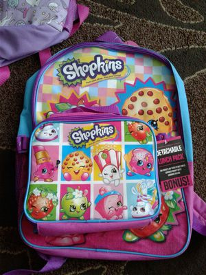 Brand new Shopkins kids backpack with detachaable lunch pack for Sale in Everett, WA