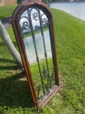 $45.00 - Mirror, Farmhouse Window Inspired/Solid Wood & Iron/Tall - Priced at Minimum for Sale in Miami, FL