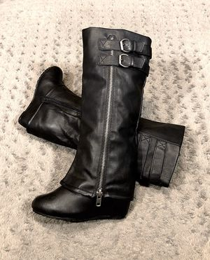 Womens Aldo foldover tall wedge boots retail $220 size 8.5 like new! Black leather great condition! Side zip for easy on and off. for Sale in Washington, DC