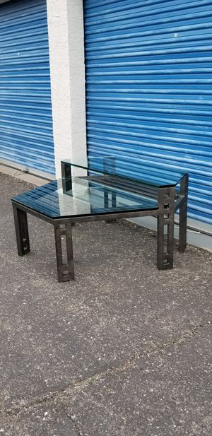 Large industrial style metal and two tier glass top coffee table. for Sale in Phoenix, AZ