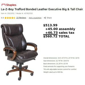 Brand NEW La-Z-boy Trafford Big and Tall Executive Highback Leather Office Chair for Sale in Las Vegas, NV