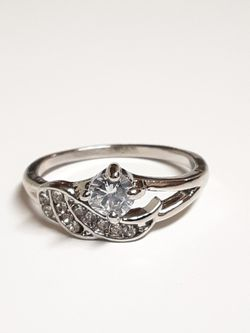 Size 9 Angel Wings Sterling Silver CZ Diamond Ring for Sale in Fort Worth,  TX