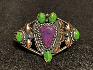 RARE RUNNING BEAR Native American Indian Copper Sterling Silver Cuff Bracelet Gaspeite Sugilite for Sale in Los Angeles, CA