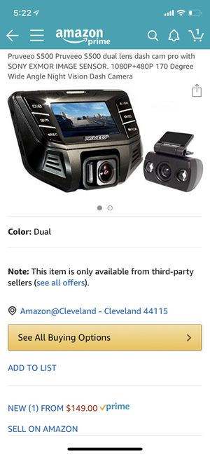 Brand New Duel Camera Dash Cam Must Have If You Do Uber or Lyft for Sale in Cleveland, OH
