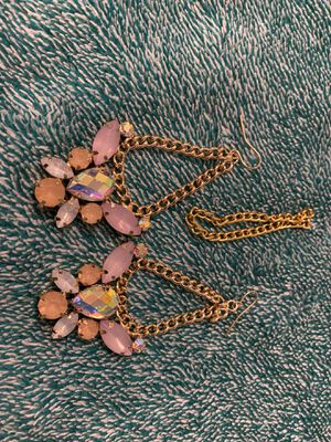 Pink BEJEWLED Gold chain earrings - Costume Jewelry for Sale in Ithaca, NY